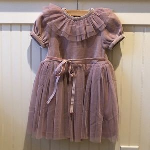 Velvet babydoll dress in blush